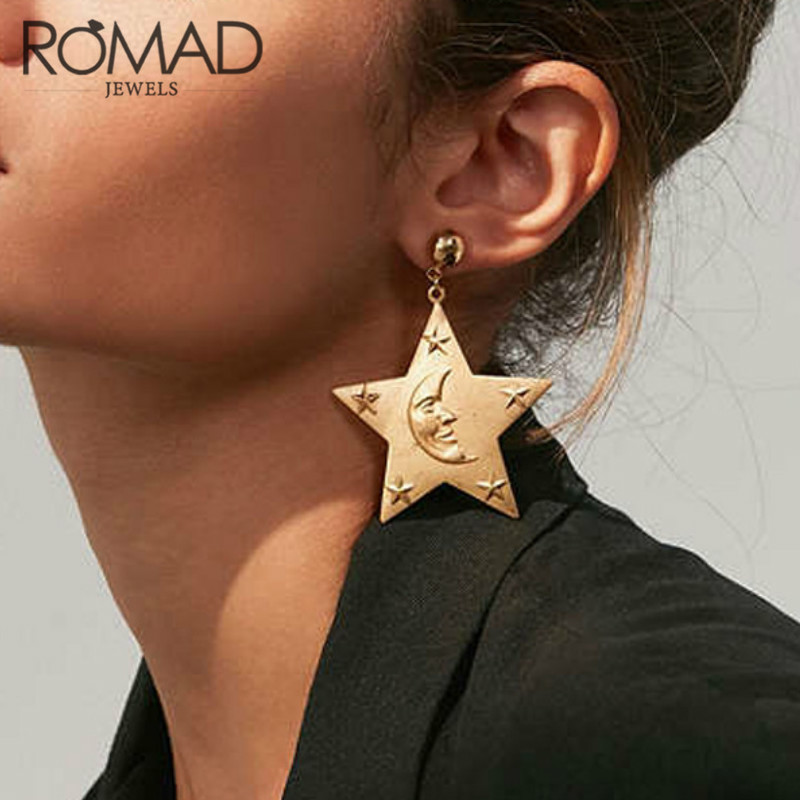 Classic Exaggerated Personalized Alloy Gold Stars Moons Face Graphic Dangle Earrings for Women Wedding Party Jewelry Erring ...