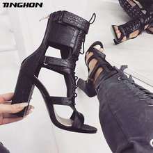 цена TINGHON  Sexy PU Sandals Women Open Toe Sexy Lace Up Sandals High Heels Summer Ladies Cut Outs Thick Heel Pumps Shoes Black в интернет-магазинах