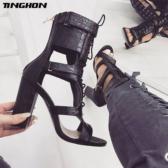 TINGHON Sexy PU Sandals Women Open Toe Sexy Lace Up Sandals High Heels  Summer Ladies Cut Outs Thick Heel Pumps Shoes Black 5315ed33d13a