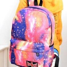 Мода 2017 г. унисекс Stars Вселенная Космос печати рюкзак школьный книга рюкзаки британский флаг сумка LXX9