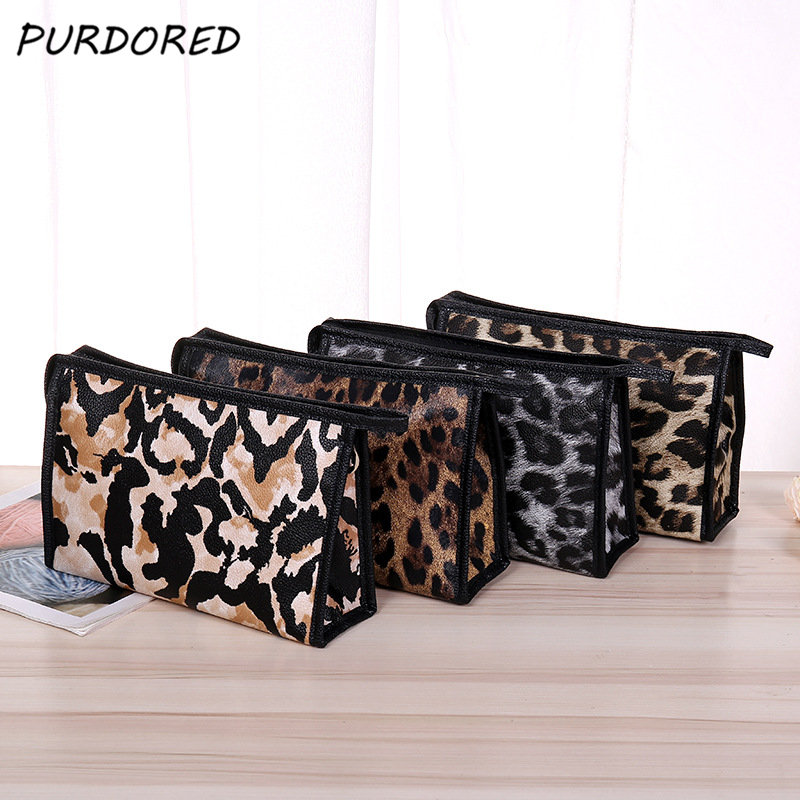 PURDORED 1 Pc Women Leopard Cosmetic Bag  Travel Makeup Bag Waterproof Makeup Pouch Toiletry Organizer  Dropshipping