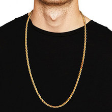 3MM Titanium Steel Silver Gold Men's Necklace Twist Chain Long Necklaces Gifts For Women Collier Jewelry Accesory High Quality(China)