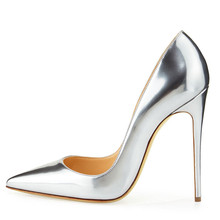Dropshopping Elegant Gold Sliver High Heels Shoes Pointed Toe Women Pumps Genuine Leather Wedding Party Dress Shoes D005B цена и фото
