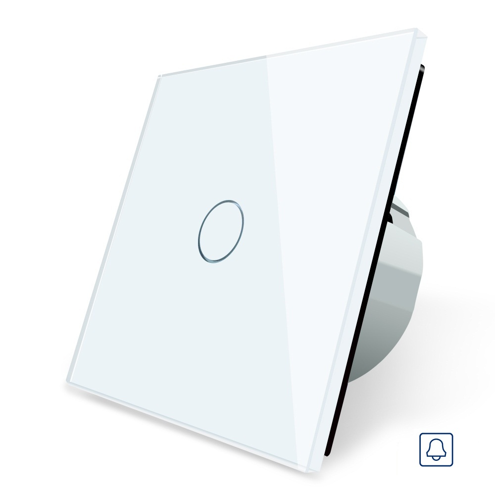 EU Standard, Door Bell Switch, Crystal Glass Switch Panel, 110~250V 5A Touch Screen Door Bell Switch for Smart Home free shipping smart home us au standard wall light touch switch ac220v ac110v 1gang 1way white crystal glass panel