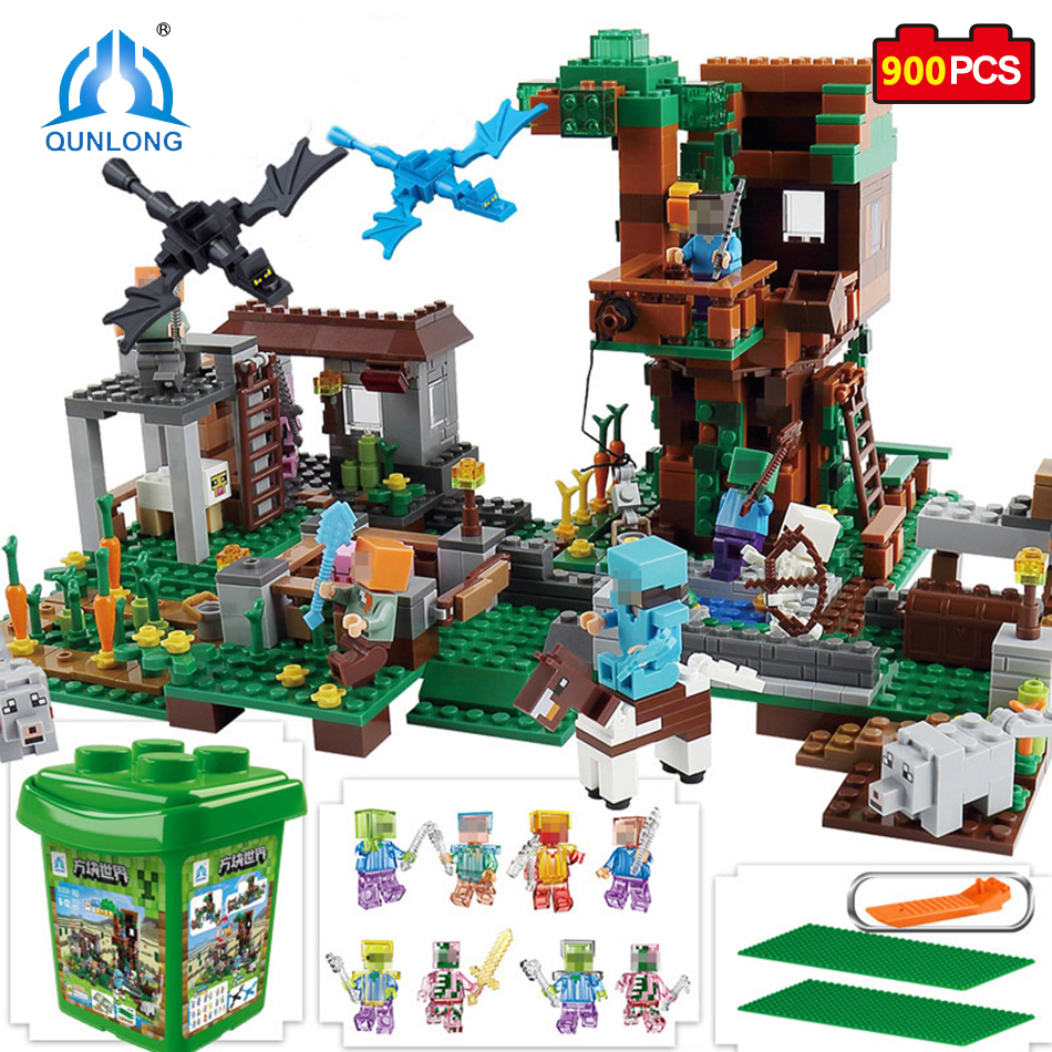 Qunlong Toys My World Minecrafted The Molcard Village Building Blocks Enlighten Toys For Kids Compatible Legos Minecrafted City lepin 18010 my world 1106pcs compatible building block my village bricks diy enlighten brinquedos birthday gift toys kids 21128