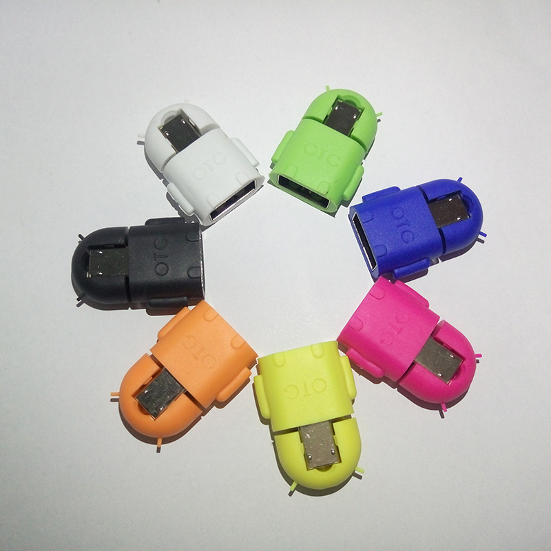 Wholesale Portable Multi Color Robot Shape Android Micro USB To USB Converter OTG Adapte ...