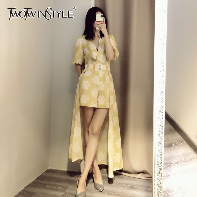 TWOTWINSTYLE Elegant Print Womensuit Turtleneck Short Sleeve High Waist Slim Playsuit With Skirt Female Two Piece
