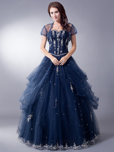 Mid Night Blue Long Floor Length Ball Gown Prom Dresses For Seniors With Jacket Tulle Princess Full Length 8th Grade Prom Gowns