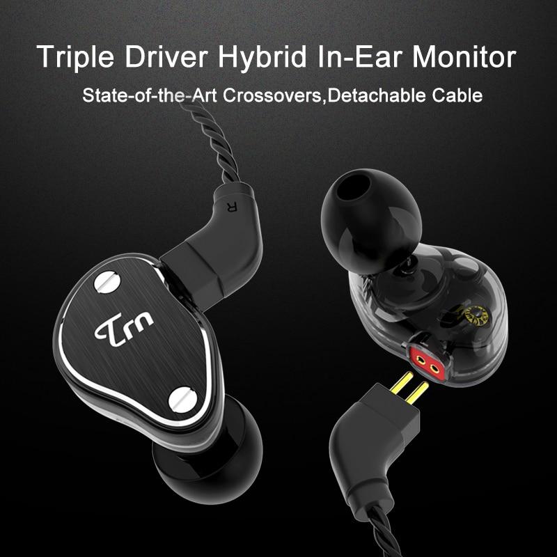 2018 TRN V60 2DD+1BA Hybrid In Ear Earphone HIFI DJ Monitor Running Sport Earphone Earplug Headset With 2PIN Cable KZ ZS5 TRN