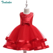 Tonlinker 2018 New Christmas Dress Girl Kids For Handmade beading Princess baby Girls costume Bow Party dress