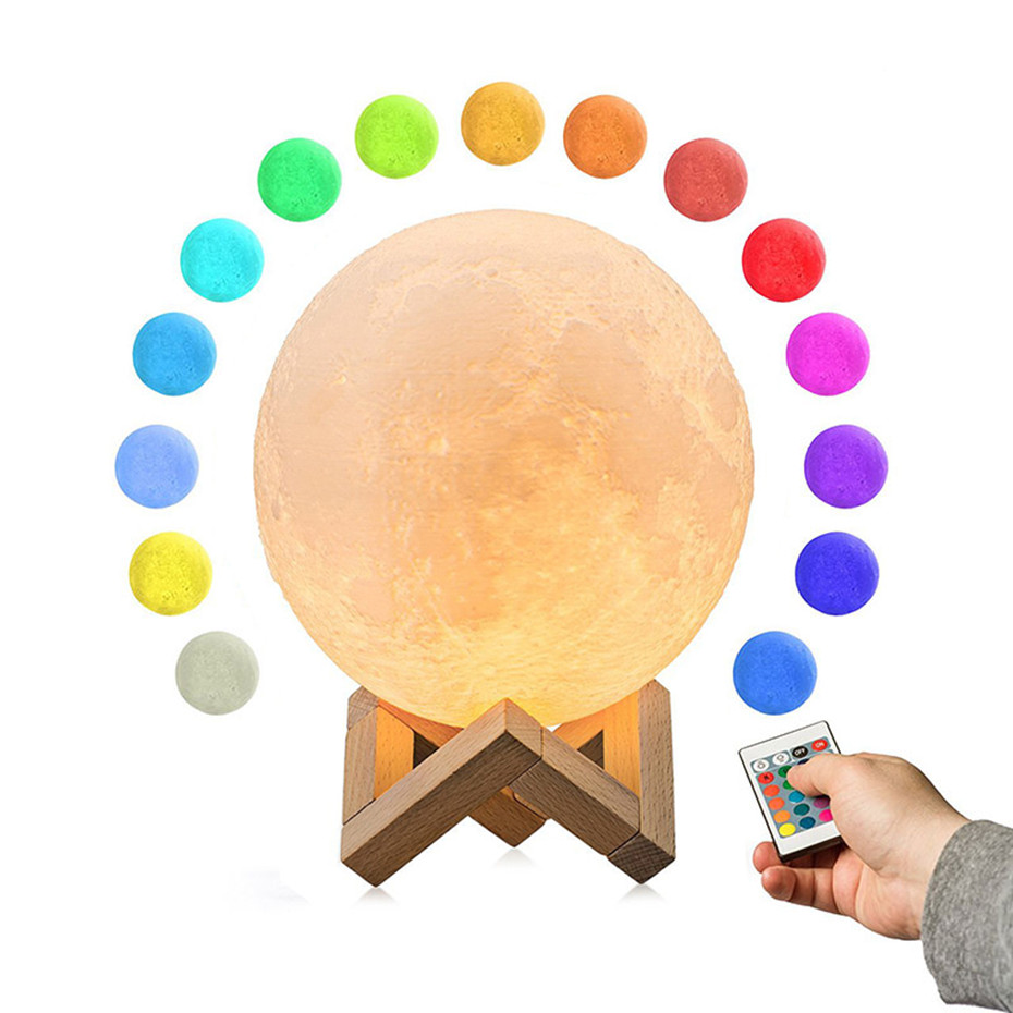 3D Full Moon Lamp Led Night Light USB Rechargeable 3D Print Moon Lamp Touch 2 Color Change / 16 Colors Lampara <font><b>Luna</b></font> Lamp Moon image