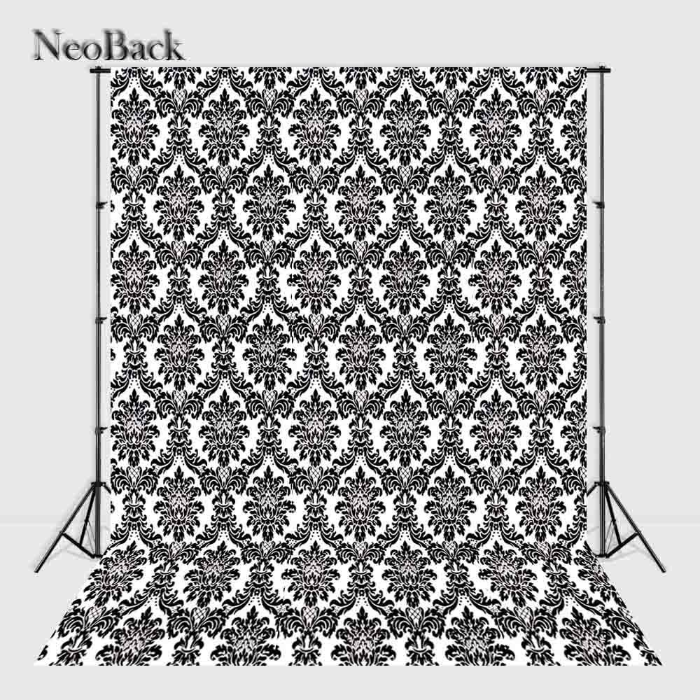 NeoBack 9x12ft lavable sans couture Photo toile de fond moderne Vintage noir blanc damassé polyvalent Portrait Photo fond M0006
