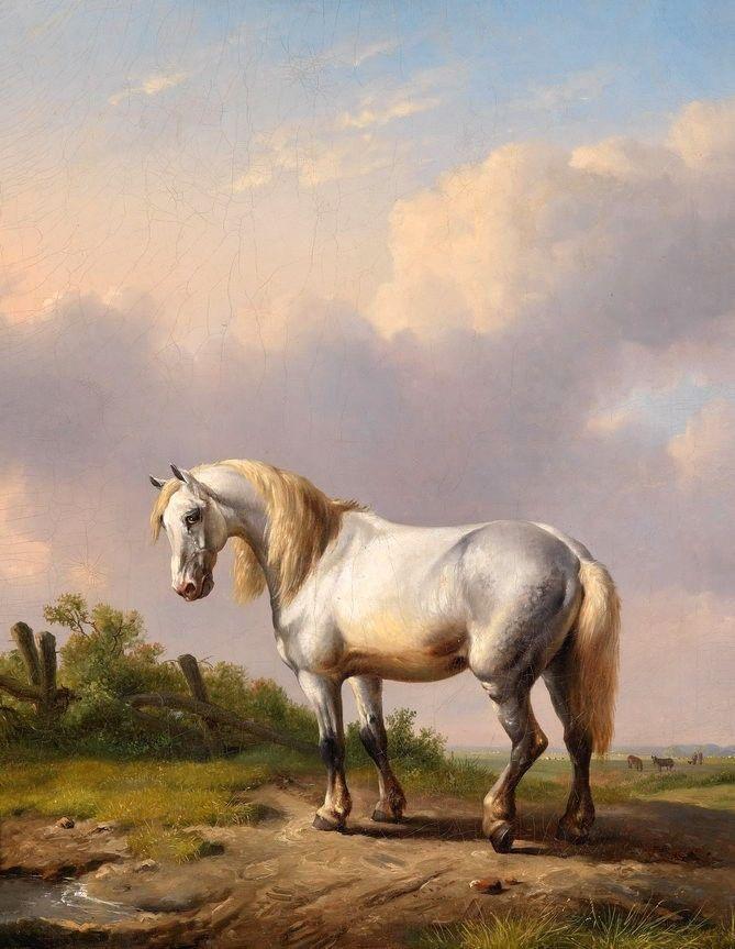 Peinture à l'huile animale pour salon décoration murale toile peinture murale cheval blanc dans champ paysage et étang fait à la main