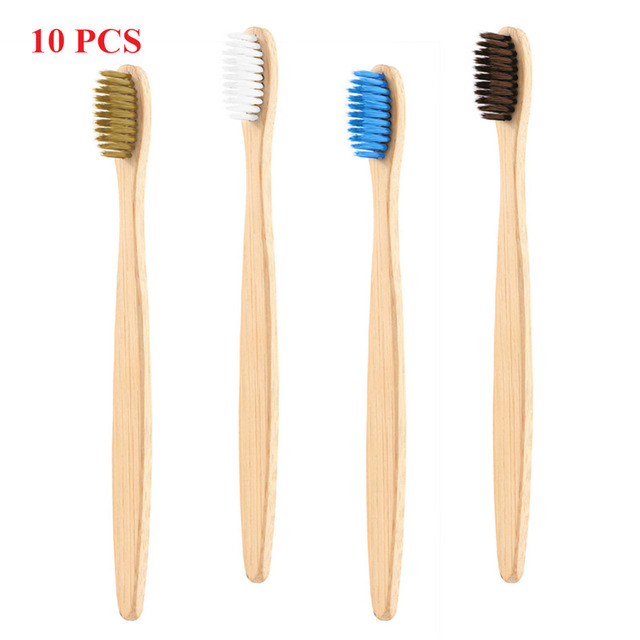 Y&W&F 10 Pcs Environmental protection Adults Bamboo Handle Wooden Toothbrush Teeth