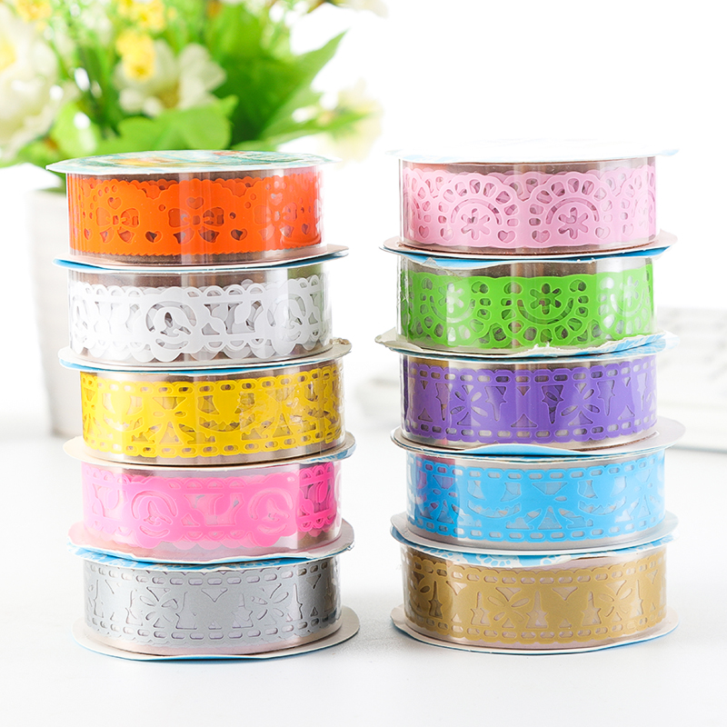 DIY Hollowed-out Lace Tape Sticker Sparkling Silver Gold Glitter Powder Tapes Journal Scrapbook Decor School Students Supplies