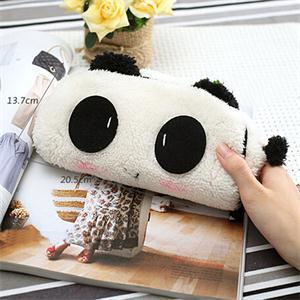 Cute 3D Plush Panda Pencil Case Bags Kawaii Noverty Cheap Big Large Capacity All In 1 Pen Bags Organizer Holders For Kids School