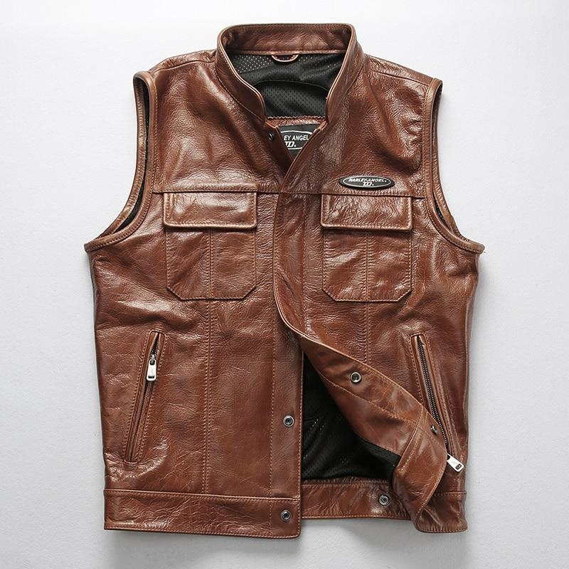 Chaleco de piel de vaca suave profesional para hombre, chaqueta sin mangas de motociclista de estilo nuevo, Chaleco de cuero genuino para hombre, DHL envío gratis