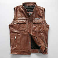 Men's Professional Soft Cowhide Vest NewStyle Motorcycle Biker Sleeveless Jacket Male Genuine Leather Vest DHL Free Shipping