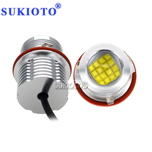 SUKIOTO 80W LED Marker Kit E39 LED Angel Eyes 6500K White DRL Hole Ring For E39 E60 E63 E53 E83 E87 NO Error Canbus LED Lights