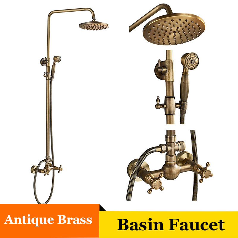 Senlesen Chrome/ Bronze/ Brass Bathroom Shower Faucet Wall Mount W/ Hand Shower Set Cold and Hot Water Mixer Tap Para Bath sognare brass body bathroom shower faucet single handle cold and hot bath shower faucet set with hand shower chrome finish d5126