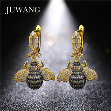 JUWANG New Tiny Bee Insect Drop Earrings for Woman Micro Pave CZ Beetles Gift Women Lifelike Jewelry