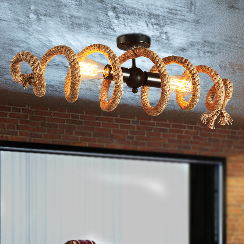 American industrial Loft Iron Rope Ceiling Lamp E27 Edison Bulb Light Round Led Ceiling Light kitchen Ceiling Lighting e27 rh loft style american retro metal punk ceiling lamps ceiling lamp vintage ceiling mounted lighting with edison led bulb
