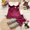 Roupa das meninas 2015 Moda outono floral roupa das crianças set crianças roupas de inverno do bebê completa hoodies casaco + calça 2 Pcs treino