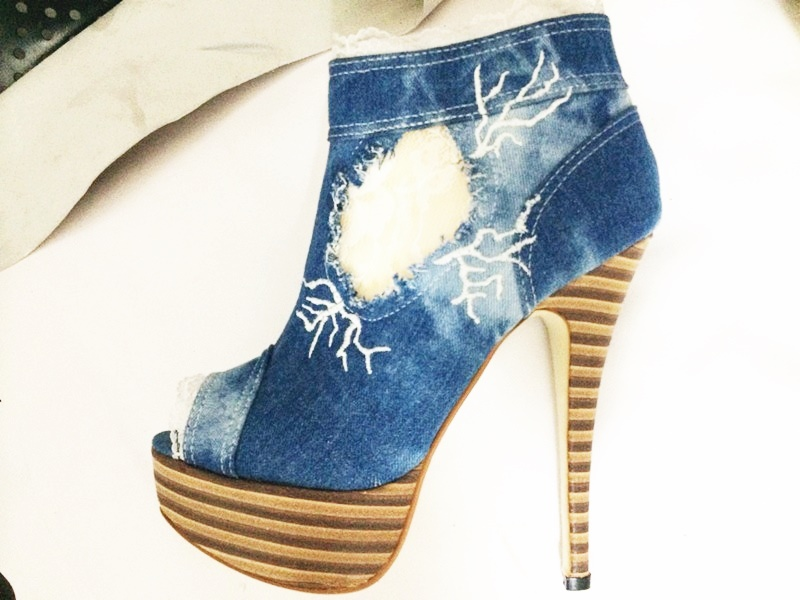 Platform denim bootie white lace patchwork peep toe water proof boots embroider woman party nightclub blue shoes in Ankle Boots from Shoes