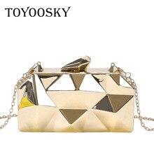 все цены на TOYOOSKY Gold Acrylic Box Geometry Clutch Evening Bag Elegent Chain Women Handbag Party Shoulder Bag For Wedding/Dating/Party онлайн
