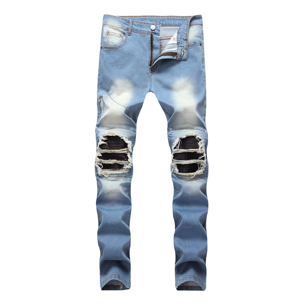 Male Hip Hop Hole Jeans Zipper Stretch Fashion High Street Wrinkle Light Blue Jeans Trousers Ripped Bleached Zipper Skinny Jeans