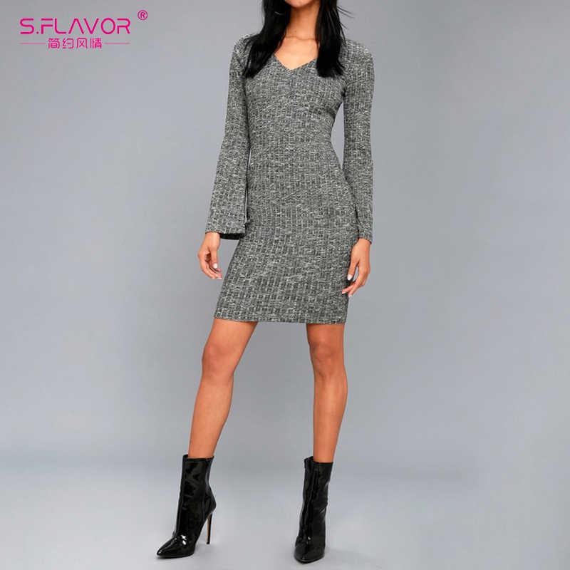 S. FLAVOR серый женское облегающее Мини платье для ночного клуба стиль сексуальный v-образный вырез снизу vestidos 2019 осень зима длинный рукав трикотажное платье