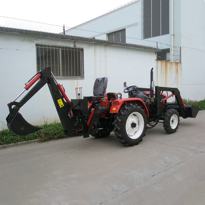 Tractor With Front Loader and Back Hoe 50HP Four Wheel Tractor ...