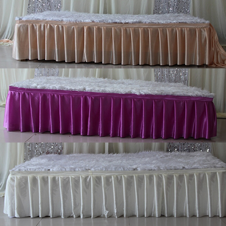 Ice silk table skirt 3m 10ft length table cloth 3m 10ft for 10 ft table cloth