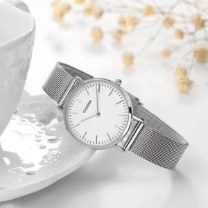 Image 4 - CADISEN スーパースリムスライバーメッシュステンレス鋼腕時計女性ブランドの高級カジュアル時計レディース腕時計女性レロジオ Feminino