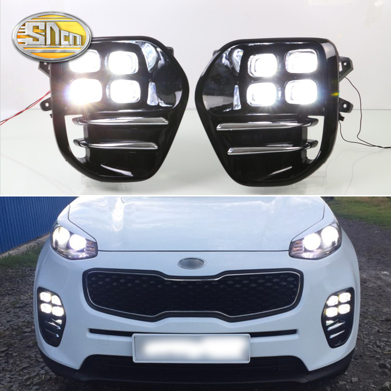 For Kia Sportage KX5 2016 2017 2018 Plug and Play Car 12V DRL Waterproof LED Daytime Running Light LED Fog Lamp Daylight SNCN стоимость