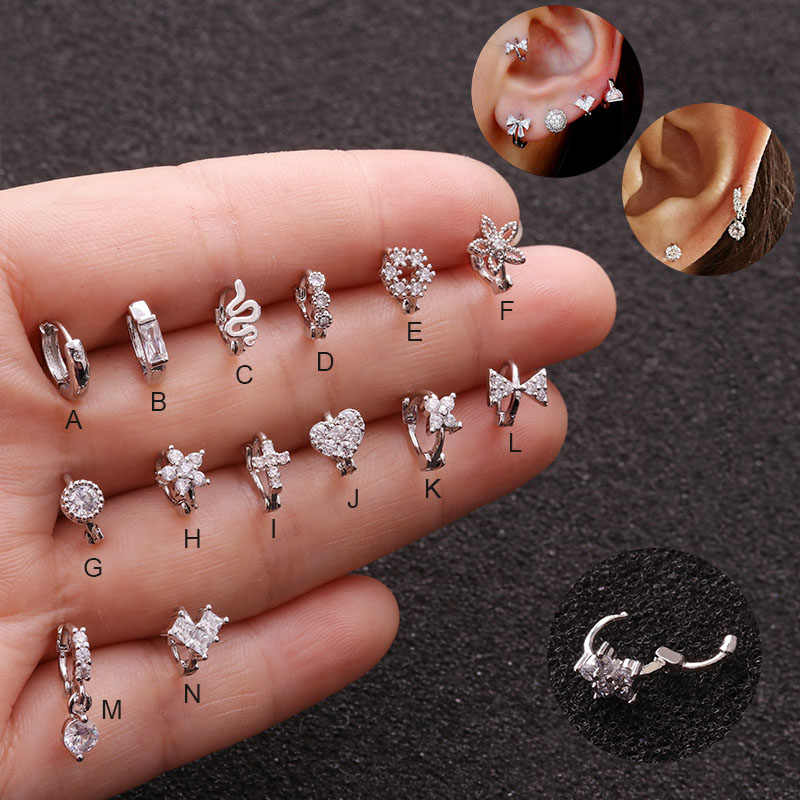 Sellsets 1Pc 14Style Small Hoop Cz Cartilage Huggie Earring Tiny Tragus Helix Rook Ear Piercing Jewelry