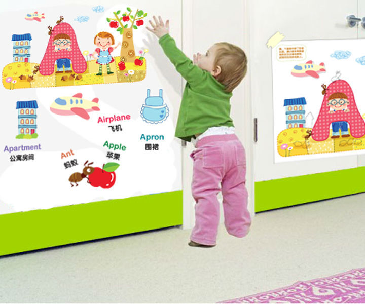 Picture Dictionary For Children Vinyl Wall Stickers For Kids Rooms Home Decor DIY Wallpaper Art Decals House Decoration CT284