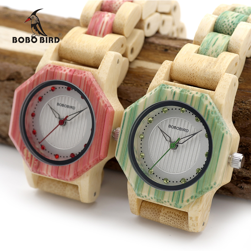 BOBO BIRD Newest Ladies Quartz Watches Octagon Natural Bamboo Watch Case Women's Brand In Wooden Box Dropshipping