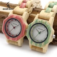BOBO BIRD montres à Quartz pour femmes, en bambou naturel, octogone, boîtier de marque, boîte en bois, nouvelle collection livraison directe