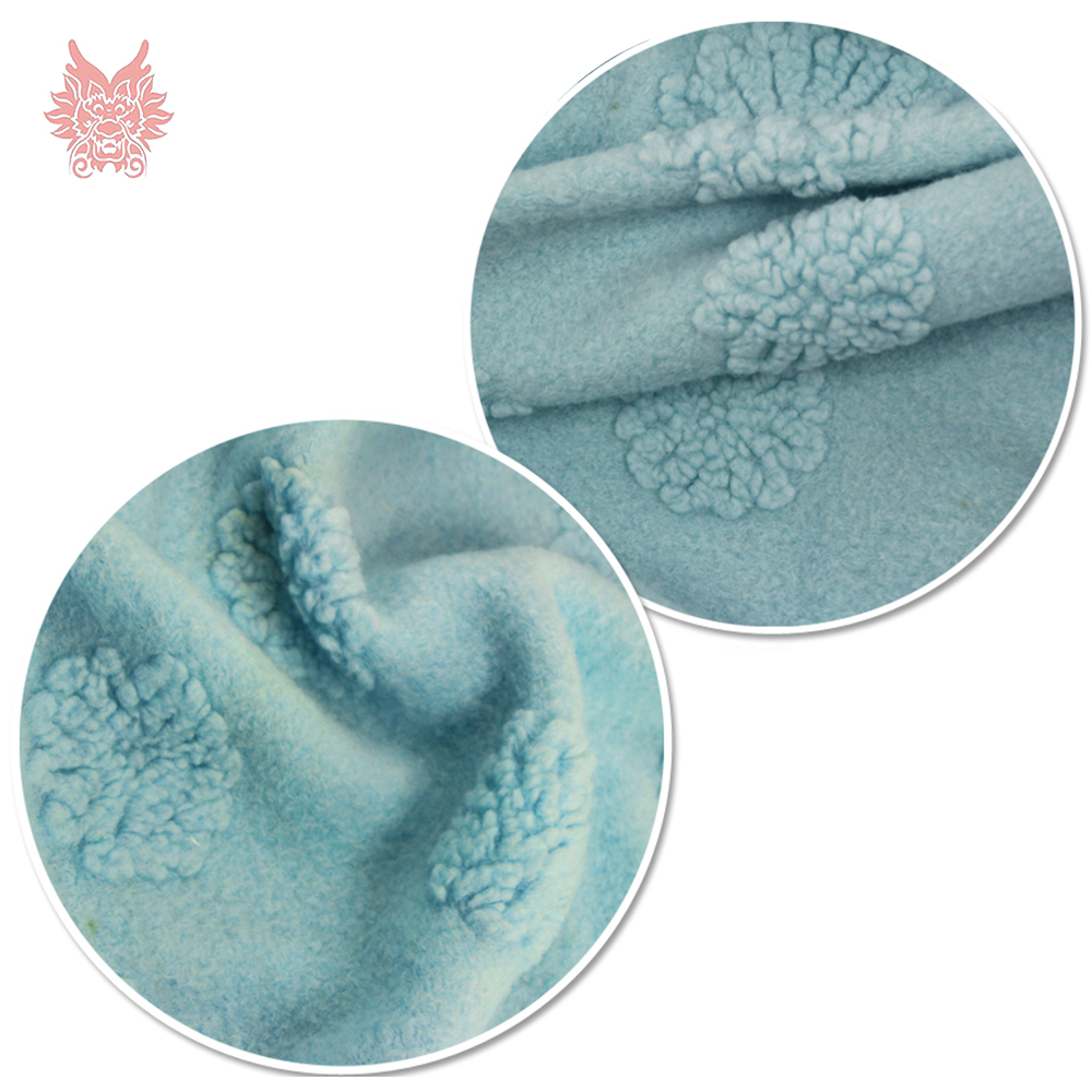 Light blue 3D floral jacquard cashmere wool fabric for coat dress winter fluffy woolen tissue stoffen tissu SP4555 Free shipping