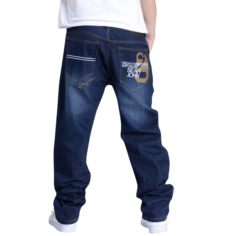 Big Size Men Hip Hop Jeans Men Baggy Jeans Denim Hip Hop Pants Mens Streetwear Casual Loose Jeans Rap Trousers Big Size 30-46