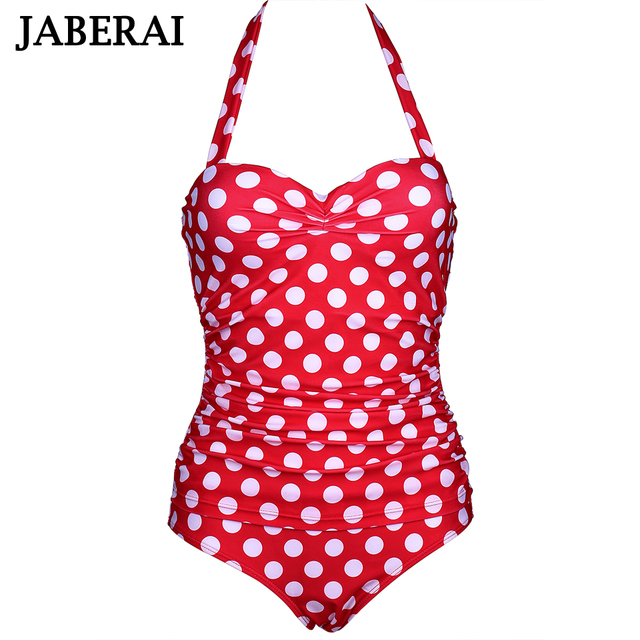 b8a38f8a9a0cb JABERAI 2019 One Piece Swimsuit Sexy Swimwear Women Monokini Swimsuits  Cherry Print Push Up Bathing Suits Plus Size Beachwear