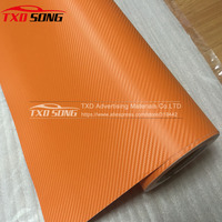Strong stretchable Orange 3d carbon vinyl with air free bubbles size :1.52*30M per roll by free shipping