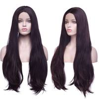S noilite 26 Brazilian Lace Front Wigs Synthetic Full head Wig Long Silky Straight Fake Hair Hairpiece for black Women in brown