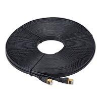 30m 100ft Cat7 Ethernet Cable RJ45 Black Flat Lan Cable SSTP Network Cable CAT 7 Flat100ft Patch Cord Modem Router Lan Cable