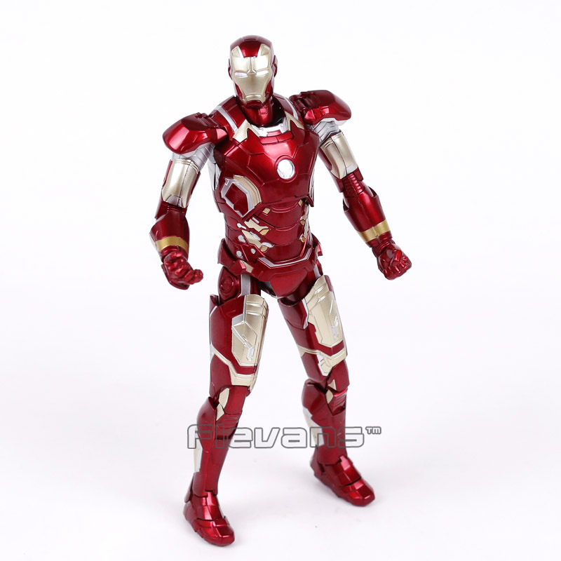 Iron Man Mark XLIII MK 43 PVC Action Figure Collectible Model Toy with LED Light 7inch 18cm marvel iron man mark 43 pvc action figure collectible model toy 7 18cm kt027
