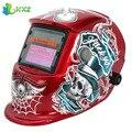 Diseño Estándar rojo Casco de Soldadura Solar Oscurecimiento Automático Máscara De Soldadura Soldador de Rectificación Eléctrica de Tapa Telarañas y el Cráneo