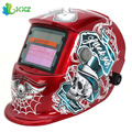 Red Standard Design Solar Welding Helmet Auto Darkening Electric Grinding Welding Face Mask Welder Cap Lens Cobwebs and Skull