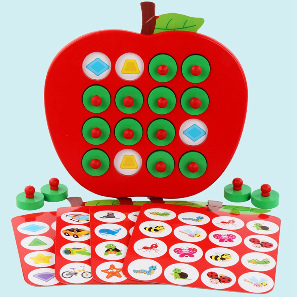 Kids Wooden Apple Memory Matching Chess Game Early Education 3D Puzzle Family Casual Games Puzzle Ideal Children's Day Gift