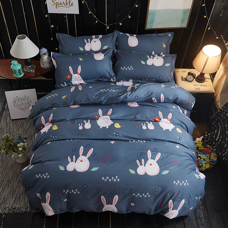 Fashion Cartoon Duvet Cover Set Bed Cotton Linens Pillowcase 4pcs Bedding Bed Set Bedding Twin Full Queen King Kids Gift ...